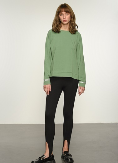 People By Fabrika Kadın Şerit Detaylı  Sweatshirt PFKAW20SW0013 Yeşil
